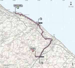 La mappa della cronometro Gabicce Mare - Saltara